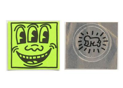 "Keith Haring, '2 PIECE SET,  POP SHOP STICKERS-  1.) ""Three Eyed Smiling"", 1980's, POP Shop Sticker (unused), 2.)""Silver Baby"", 1980's, POP Shop Sticker (unused)', 1980's"