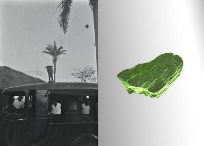 Sammy Baloji, 'Hans Himmelheber, Figure on the roof of Himmelheber's car, DR Congo, Luluwa region, 1939, scan of a Dioptase from Tantara mine, and your reflection in the mirror, 2020', 2020