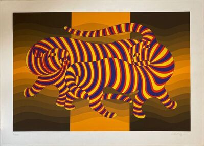 Victor Vasarely, 'Two tigers on gold ', 1980