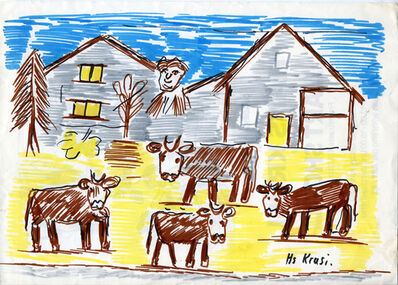 Hans Krüsi, 'Untitled (Cows in the Yard)', n.d.