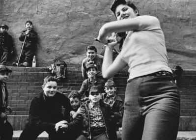 William Klein, 'Stickball Team + Girl Batter', 1954-1955
