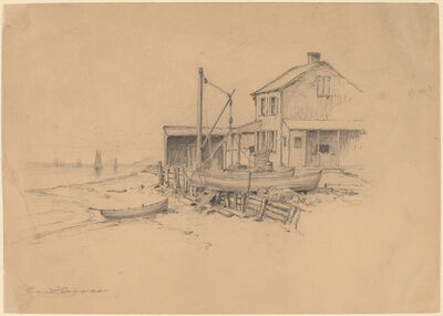 Henry Farrer, 'Fishing Boats and Shack'