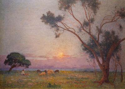 Ferdinand du Puigaudeau, 'Berger et ses Moutons au Soleil Couchant', Undated