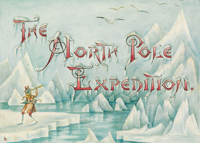 "Lillian C. Davids, '""Doings of the Grasshoppers. The North Pole Expedition."" Group of 4 illustrations including a cover design and a rear cover, along with 2 pages for a chapter entitled ""The North Pole Expedition"" for an unpublished work by Davids called ""Doings of the Grasshoppers""', circa 1880"