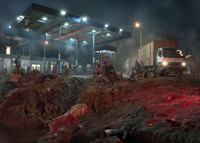 Nick Brandt, 'Petrol Station With Lion', 2018