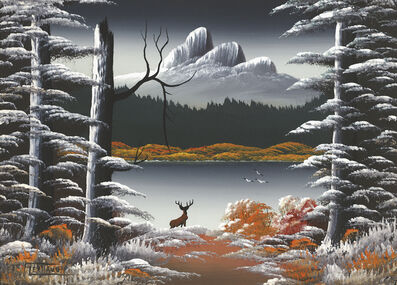 Levine Flexhaug, 'Untitled (Mountain lake nocturne with deer, blasted tree and three birds)', n.d.