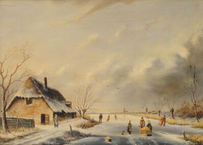 Dutch School, '(Winter Landscape with skaters)', 1850