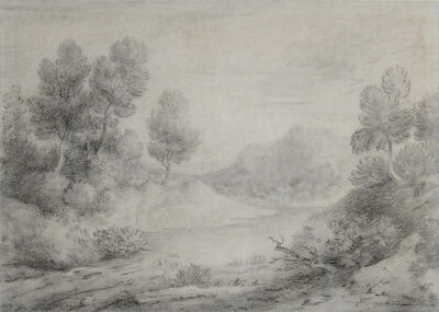Thomas Gainsborough, 'wooded landscape with track and pool', ca. 1785