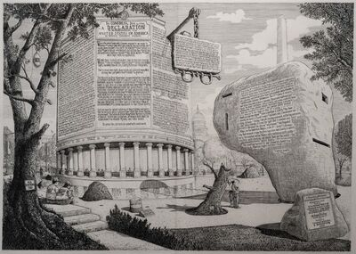 Sandow Birk, 'Proposal for a Monument to the Declaration of Independence (and a Pavilion to Frederick Douglass)', 2018