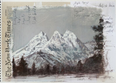 Adam Straus, 'Grand Tetons on Newspaper and Shopping Lists', 2018