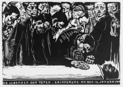 Käthe Kollwitz, 'The Living to the Dead. In Memory of January 15, 1919. (Mourning the death of Karl Liebknecht)', 1920