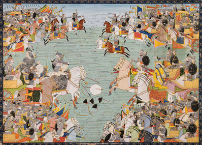 Purkhu, 'Illustration to the Mahabharata: The Pandava and Kaurava armies face each other in combat', ca. 1810