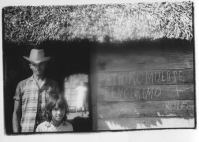 "Agnès Varda, 'On the road between the Sierra Maestra and Santiago de Cuba - Man and child, ""Patria o muerte"" (Cuba series)', 1962"