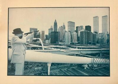 Gerard Malanga, 'Vintage Signed Photograph William Burroughs Aims at Twin Towers from Brooklyn', 1970-1979