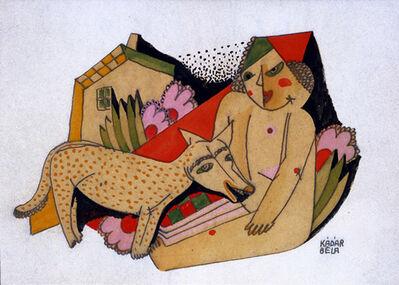 Bela Kadar, 'Young Girl and Dog (Mädchenakt und Hund)', ca. 1920