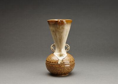 Miraku Kamei XV, 'Flower vase (hanaire), turnip form (shimo kabura), and shippo design handles'