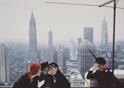 Norman Parkinson, 'Hat fashions, the New York skyline from the roof of the Condé Nast building on Lexington Avenue', 1949