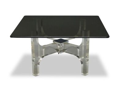 Philippe Jean, 'a Lucite, chromed steel and smoked glass coffee table', c.1970s