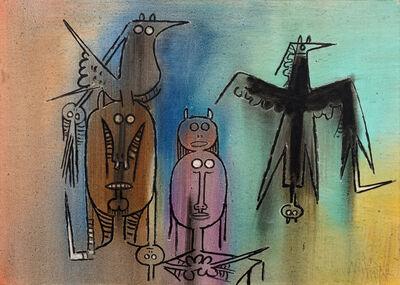 Wifredo Lam, 'Personajes con Pajaro Negro', 1972
