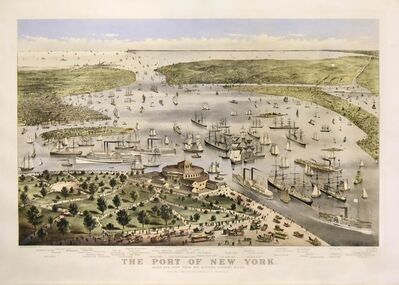 Currier & Ives, 'The Port of New York.  Birds Eye View from the Battery, Looking South.', 1878