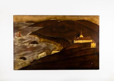 André Ducuing, 'Lacquered Panel Depicting a Seaside in Normandy', ca. France-circa 1920s