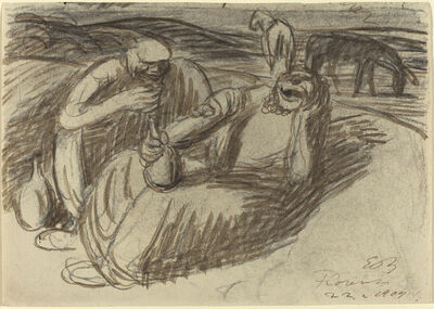 Ernst Barlach, 'Italian Peasants with Wine Flasks', 1909