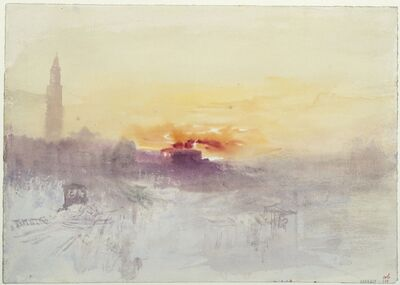 J. M. W. Turner, 'Venice at Sunrise from the Hotel Europa, with Campanile of San Marco,', About 1840