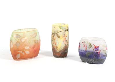 DAUM Nancy, 'Three early 20th century Daum Nancy cameo glass vases'