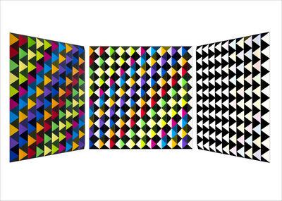 Roland Helmer, 'V77 - Bunt,unbunt-dunkelblau-diagonal ', 2018