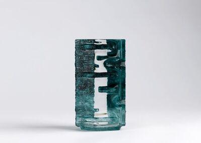 Daum, 'Argos Bleu Art Deco Acid Etched Vase', ca. France-circa 1970