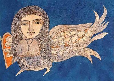 "Badri Narayan, 'Kinnara, Watercolor on Paper, Blue, Orange by Indian Padmashree Artist ""In Stock""', 2006"