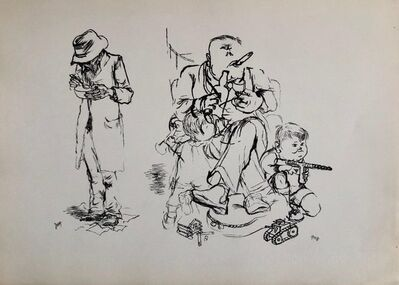 George Grosz, '1936 Lithograph Interregnum, Cigar, Kid w Toy Gun, Small Edition Weimar Germany', 1930-1939