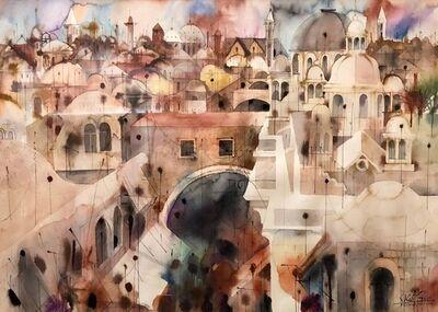 Shmuel Katz, 'Old City Jerusalem Landscape Original Israeli Judaica Watercolor Painting', 20th Century