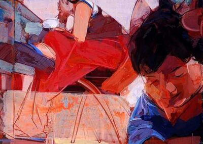 """Uday Mondal, 'Tango, Acrylic on Canvas, Red, Blue Colours by Contemporary Artist """"In Stock""""', 2019"""