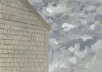 Lois Dodd, 'Side of Barn and Scudding Clouds', 2010