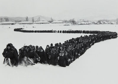 Carl Mydans, 'The newly created 'Japanese Police Force' moves out of camp for winter training, Hokkaido, Japan', 1951-printed 1996