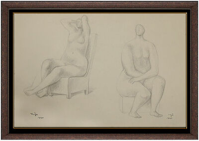 Francisco Zúñiga, 'Francisco ZUNIGA ORIGINAL DRAWING Rare Hand Signed 2 TIMES Female Portrait Art', Mid-20th Century