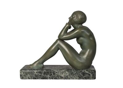 Maurice Guiraud-Riviere, ''Thoughts', an art Deco cold-painted bronze figure', c.1930