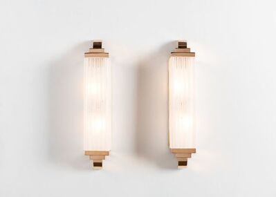 """Cristal Benito, '""""Groove,"""" Pair of Art Deco Inspired Hand-Cut Crystal Sconces', France-2018"""