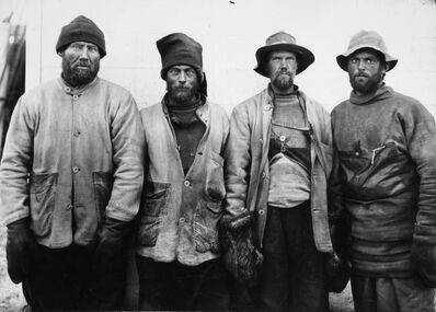 Herbert George Ponting, 'F DEBENHAM, T G TAYLOR, T GRAN AND FORDE, FROM THE SCOTT SOUTH POLAR EXPEDITION, ANTARCTICA, 1911', 1911