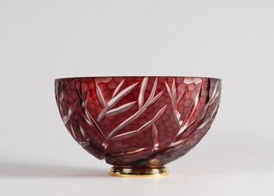"""Cristal Benito, '""""Coral Red,"""" Contemporary Hand-Cut Crystal Bowl', France-2018"""