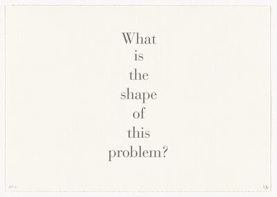 Louise Bourgeois, 'What is the shape of this problem? (Portfolio)', 1999