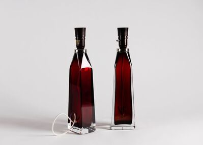 Carl Fagerlund, 'Pair of Red Glass Table Lamps', 1960
