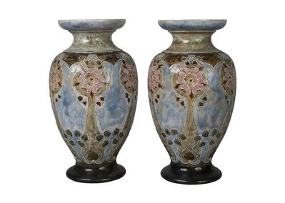 Royal Doulton, 'a pair of Stoneware 'Tudor' rose vases by Eliza Simmance', Date letter for 1903