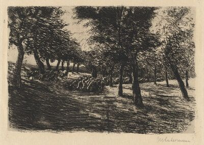 Max Liebermann, 'Herd of Sheep Under Trees', 1891