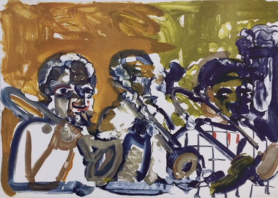 Romare Bearden, 'BRASS SECTION, JAMMING AT MINTONS', 1979