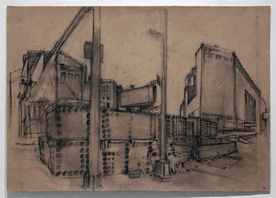 Rackstraw Downes, 'Canal Street Water-Main Project, Stacked Pipe Sections', 2000