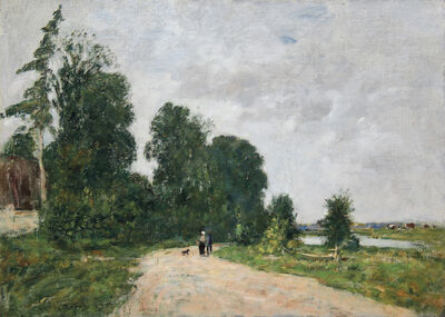 Eugène Boudin, 'Chemin animé, bord de rivière', 1887