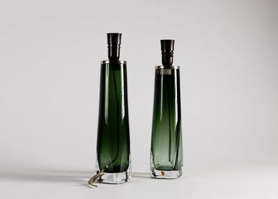 Carl Fagerlund, 'Pair of Green Glass Table Lamps', 1960