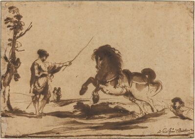 Guercino, 'Landscape with the Taming of a Horse', 1620/1630